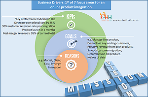 Business driver, KPI, online product, integration